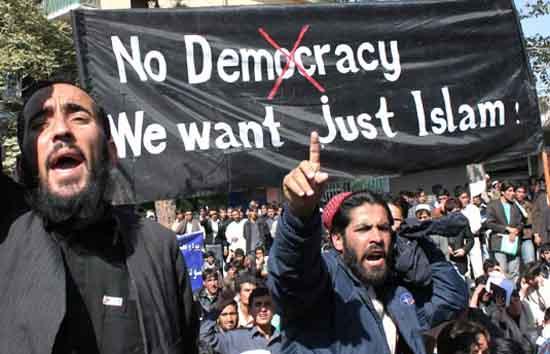 Angry Muslims Protest No Democracy Just Islam