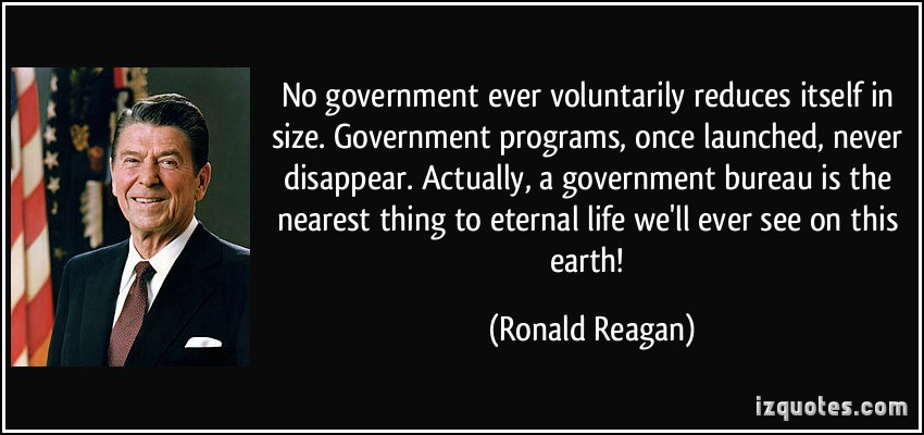 quote-no-government-ever-voluntarily-reduces-itself-in-size-government-programs-once-launched-never-ronald-reagan-151770